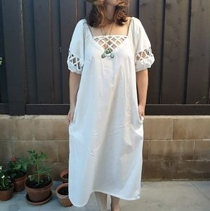 Vintage 70s DELL Cotton Eyelet Boho Market Dress